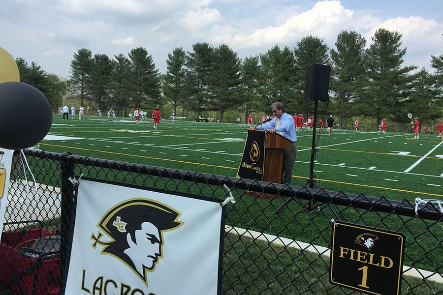 President Richard O'Hara opens the dedication ceremony with a word of thanks for all who helped make the turf fields happen. The fields were completed earlier this spring and were able to be utilized by the lacrosse teams this season.