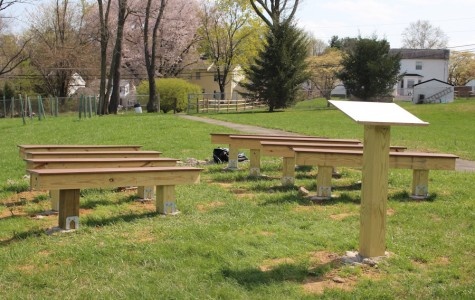 The podium and benches of the new outdoor living classroom were the result of junior Joseph Camello's Eagle Scout Project. For his Senior Project, Camello plans to add a raised platform for speakers and performances.