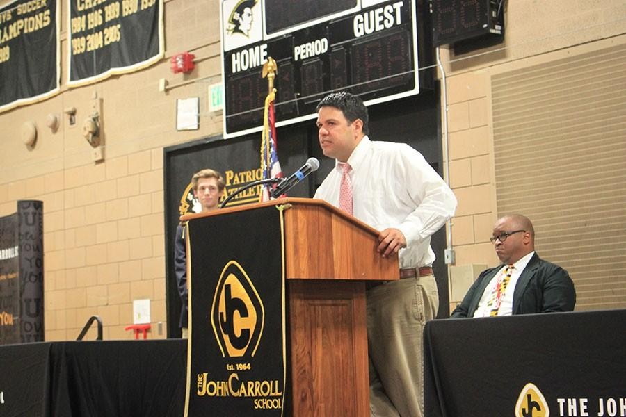 Director of Enrollment Edward Maynard wins the Educator of the year award. He was honored at the Senior Awards May 27.