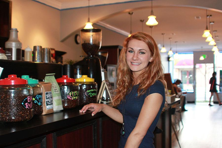 Jade Schmidt new owner of the Jaded Bean posses at her shop.  Jaded Bean officially opened on March 1, 2015.
