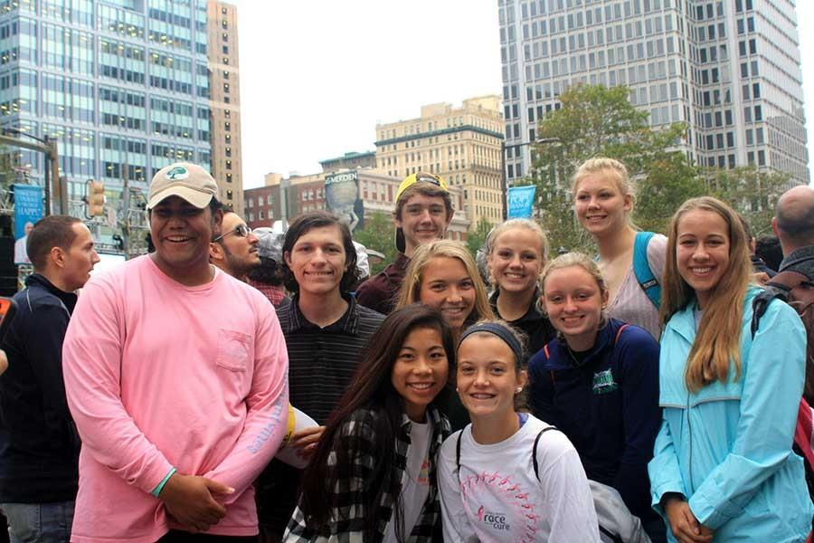 Students pose for a picture before the papal mass starts in Philadelphia on Sunday Sept. 27. Students took a bus from JC to Philadelphia, joining thousands of others, to hear Pope Francis preside mass.