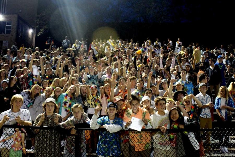The student section dresses in a Hawaiian theme for the first Friday night football game under the lights against St. Paul's, which JC won 43-0. Attending these types of events and being a part of the student section is a great way to get involved.