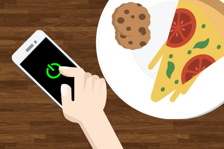 The current rule for cells phones in school requires students to have their phones off and away in all parts of the school, including the cafeteria. Currently there has been speculation on changing this rule, and a decision will come in the near future.