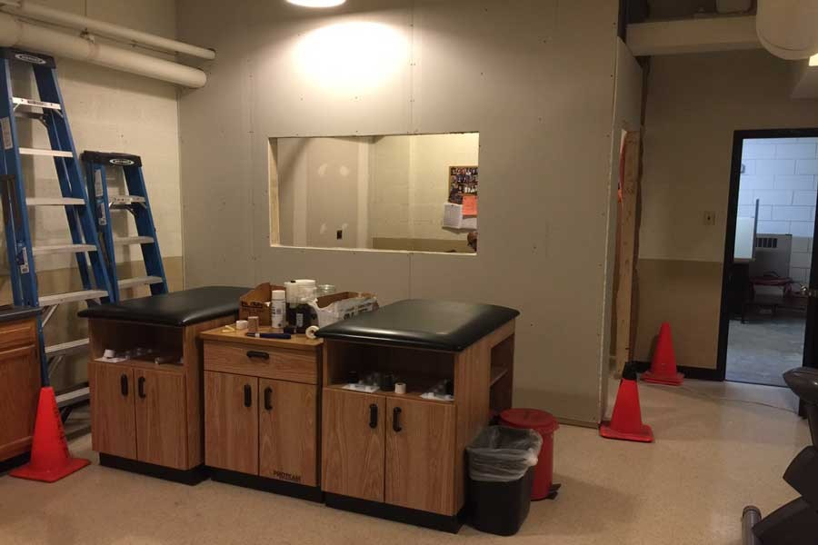 Construction on the trainers' room went underway on Oct. 28. The office is meant to create privacy for students and the trainers.