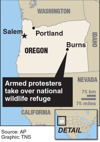 Locator map of Burns, Oregon where armed protesters take over national wildlife refuge.