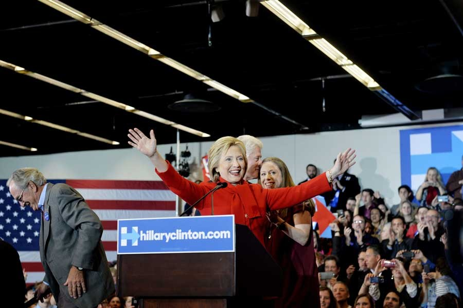 Hillary Clinton speaks in Ankeny, Iowa, on Monday, Feb. 1, 2016. Clinton narrowly defeated Sen. Bernie Sanders in Monday's Democratic Iowa caucus. (AftonbladetIBL/Zuma Press/TNS)