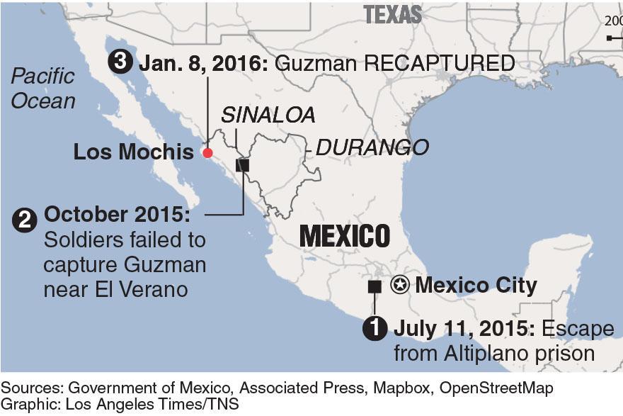 "A map showing timeline of  Joaquin ""El Chapo"" Guzmans escape journey in Mexico."