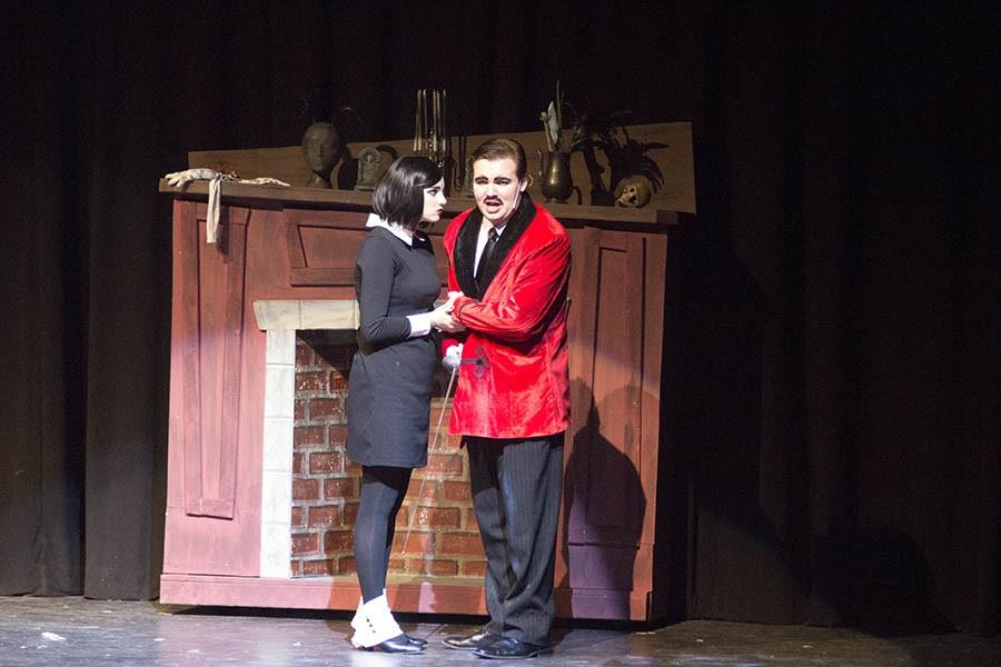 Junior+Zach+Miller+and+freshman+Rachel+Miller+portray+Gomez+and+Wednesday+Addams+in+the+spring+musical%2C+%27The+Addams+Family.%27+The+musical+was+performed+from+March+16-20+and+had+seven+total+shows.