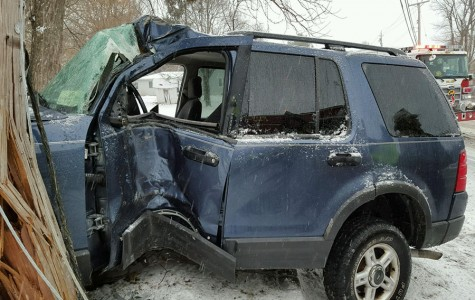 Senior Caroline Angert's car was completely wrecked after slamming into a telephone pole. Angert was driving when her car hit a patch of ice and she lost control of the wheel.