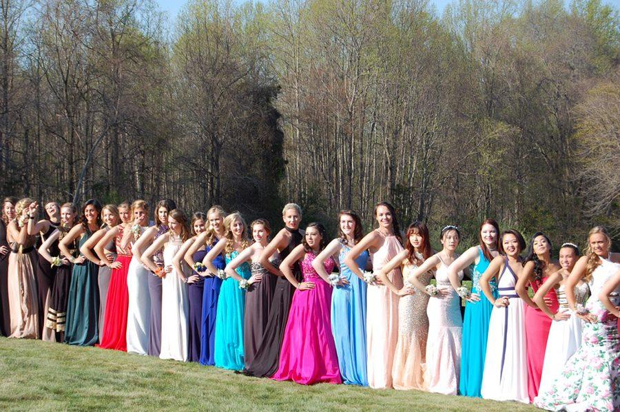 Senior and junior girls pose for a group picture before Senior Prom. Prom was held on Saturday, April 16 at the National Aquarium, with an After-Prom held at Dave and Buster's.