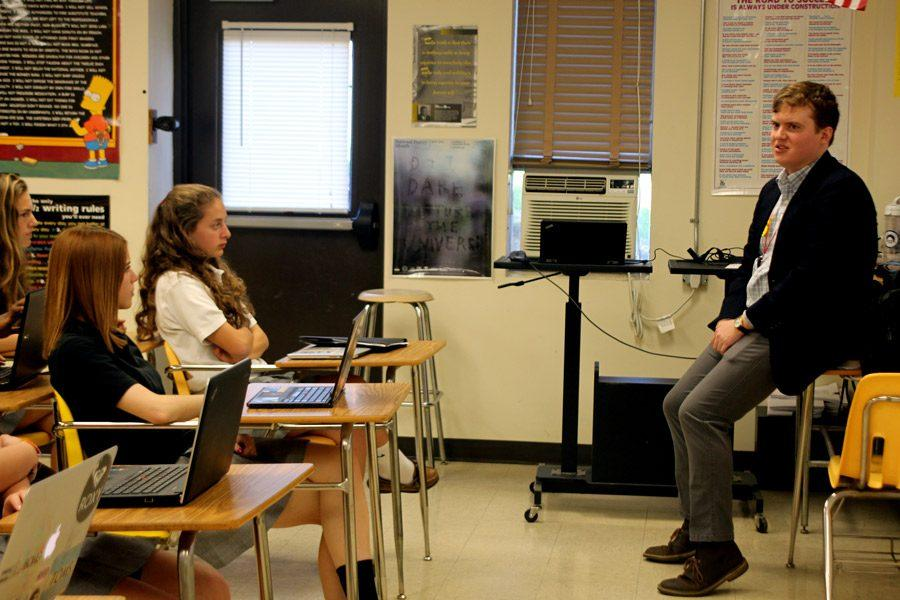 Dan Gallen, class of '10, talks to the Intro to Journalism class, taught by Nicholas Attanasio, about the in's and out's of professional journalism. Gallen spoke to all journalism classes on Wednesday, April 20.