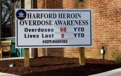 Outside of all the Harford County Sheriff's Department precincts is a sign that displays the current number of overdoses and deaths by heroin in hopes of raising awareness of the epidemic. As on April 8, 2016, there have been 60 overdoses and 8 deaths.