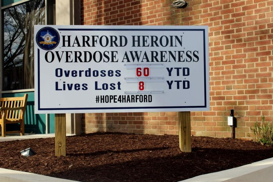 Outside+of+all+the+Harford+County+Sheriff%27s+Department+precincts+is+a+sign+that+displays+the+current+number+of+overdoses+and+deaths+by+heroin+in+hopes+of+raising+awareness+of+the+epidemic.+As+on+April+8%2C+2016%2C+there+have+been+60+overdoses+and+8+deaths.+