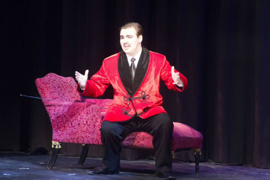 Junior Zach Miller performs as Gomez Addams in the production of