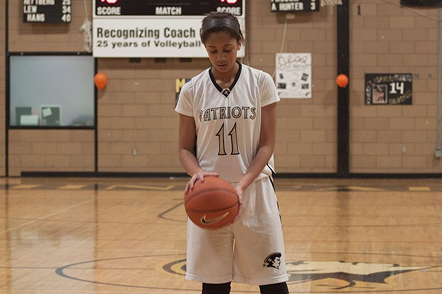 Sophomore Savannah Simmons positions herself for a free throw. Simmons has been invited to compete for a spot on the U17 National Team on May 26-30 at the Olympic Training Center in Colorado Springs, Colorado.