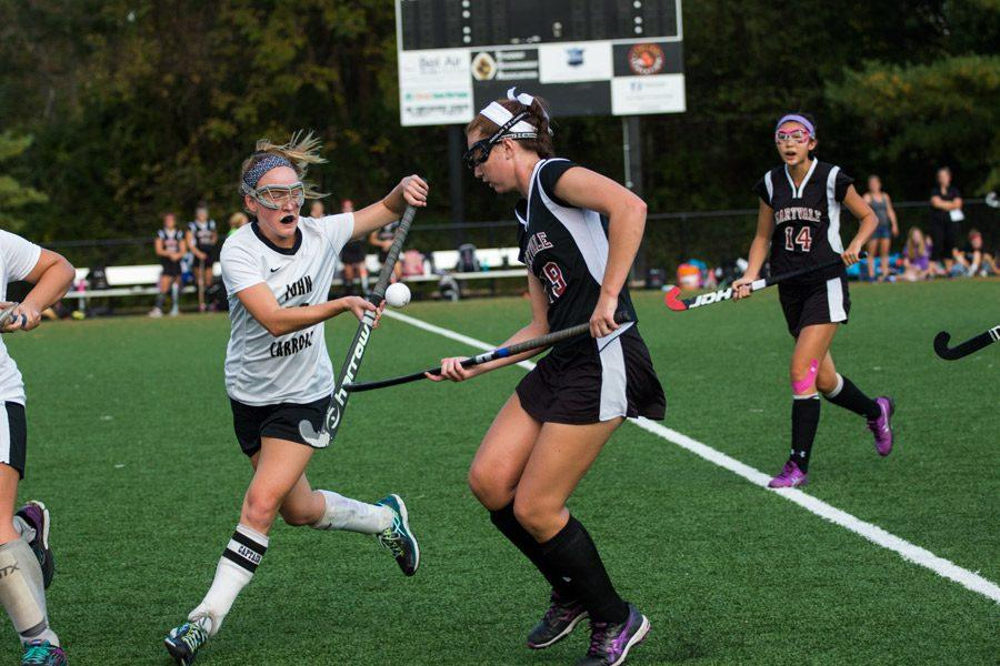 Senior+center+midfielder+Charlotte+Haggerty+tries+to+stop+the+ball+in+mid+air+during+the+game+against+Maryvale+on+Monday%2C+Oct.+17.+The+varsity+field+hockey+team+was+defeated+by+Maryvale+in+the+game+that+determined+who+held+first+place+for+the+IAAM+B+Conference.