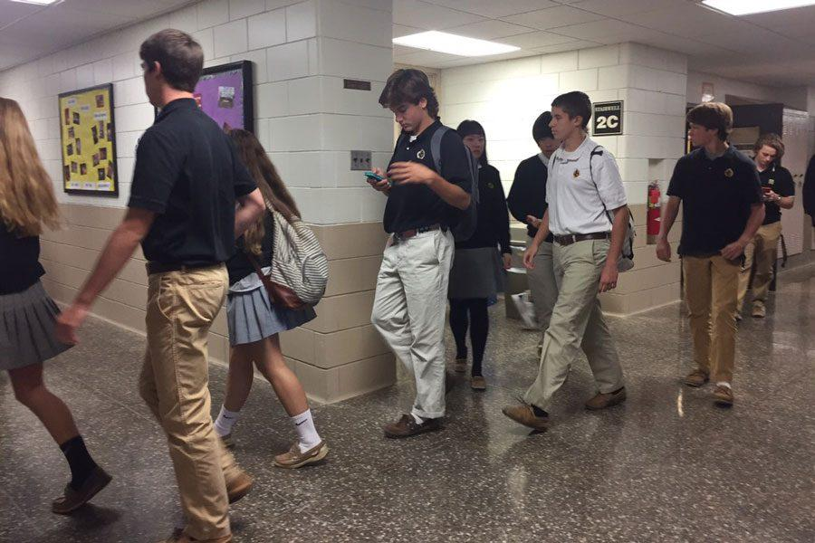 Students leave the academic wing after finishing PSATs on Oct.19. The PSAT is the National Merit Scholarship qualifying test that is taken every year by freshmen, sophomores, and juniors.