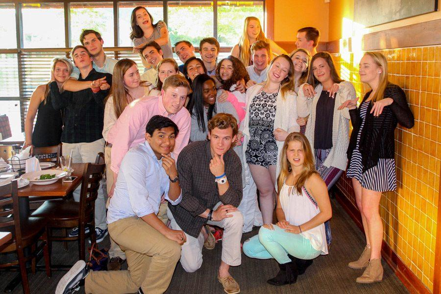 The Patriot staff of 2015-16 poses for a photo during their annual staff dinner at Bertucci's. The Patriot recently received a Crown Award for last year's online and print paper from the CSPA.
