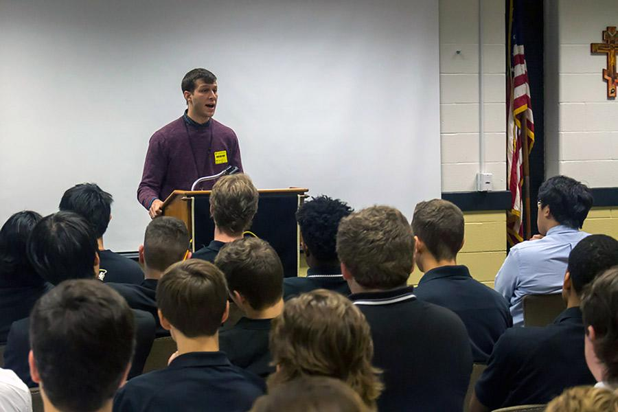 Peer Recovering Specialist Shawn speaks to the senior boys during the community drug assembly on Thursday, Oct, 27. Several speakers shared their stories of battling addiction with all grade levels throughout the school during the assembly.