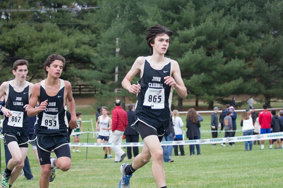 Sophomore Jack Plumer races in the cross country championships at Stevenson University on Nov. 1. The team finished in second place with a score of 60 points in the varsity B Conference.