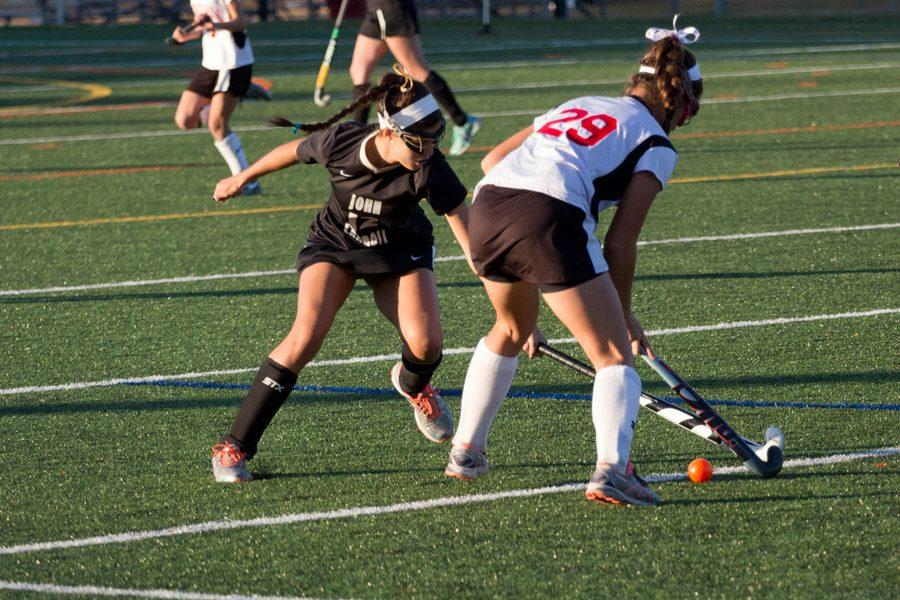 Junior right forward Kathryn Hodges extends her stick in order to try and stop the ball during the championship game against Maryvale on Nov. 7. The varsity field hockey team defeated Maryvale 1-0 and successfully achieved their third consecutive B Conference championship win.