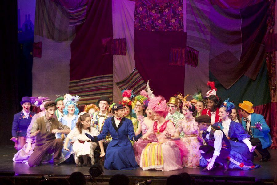 Mary Poppins cast members sing and dance in the number Supercalifragilisticexpialidocious. The fall musical Mary Poppins premiered on Friday, Nov. 4, and continued throughout the weekend.