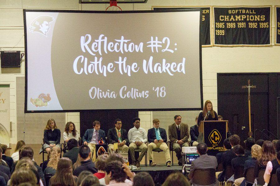 Junior Olivia Collins presents her reflection on the Corporal Work of Mercy of
