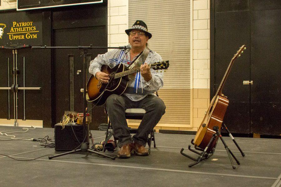 Spirit Wing singer Barry Lee performs both traditional and contemporary Native American songs during the assembly on Jan. 5. Lee performed these cultural songs to educate the community and to promote the Morning Star Powwow.