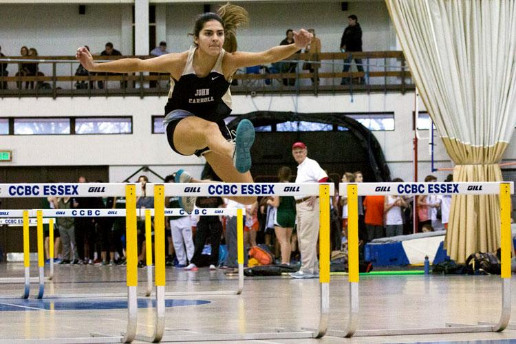 Senior+Alexa+Martinez+hurdles+her+way+into+fourth+place+in+the+55+meter+hurdles.+The+women%27s+indoor+track+and+field+team+traveled+to+the+CCBC+Essex+Campus+on+Friday%2C+Jan.+13%2C+finishing+in+second+place+out+of+17+teams.
