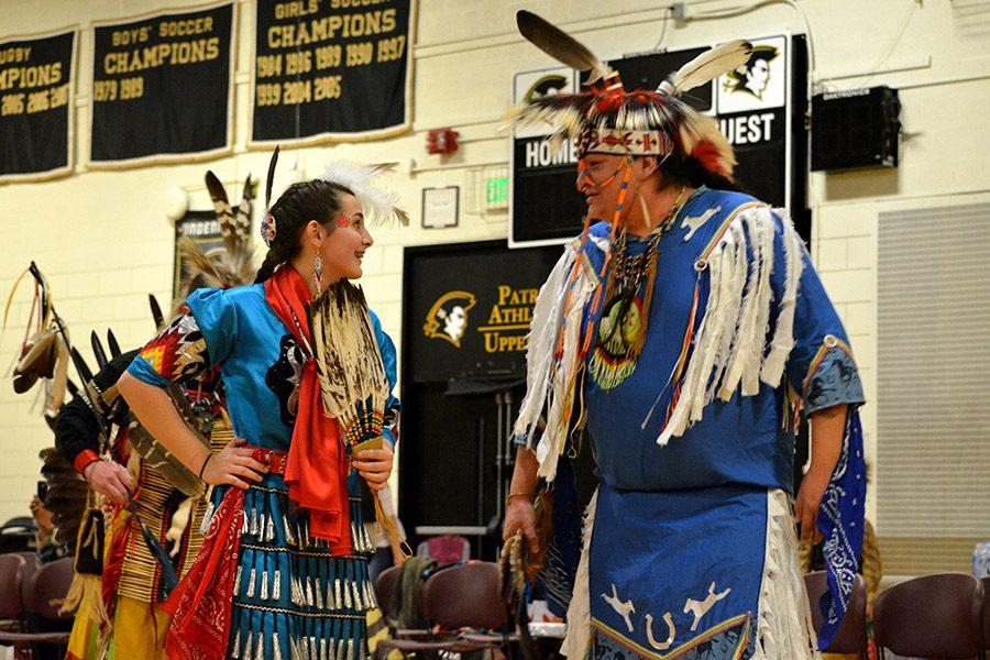The head man and the head woman of the powwow lead the traditional couples dance during the Morning Star Powwow. All proceeds raised from the powwow will be donated to St. Labre Indian School in Ashland, MT.