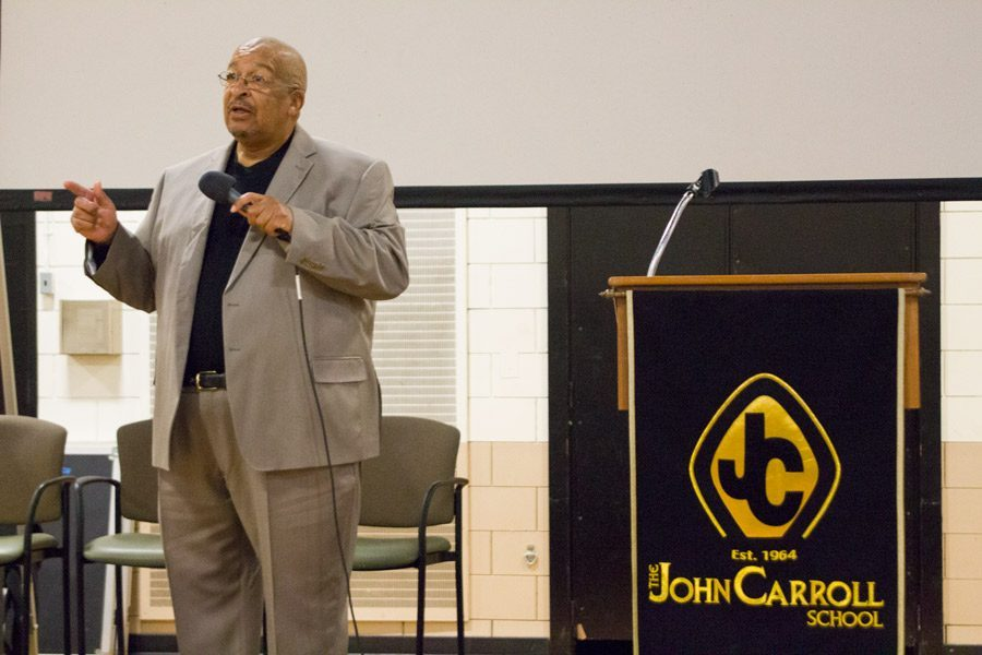 Sergeant Wendell Baxter addresses the JC community during the Martin Luther King, Jr. assembly on Wednesday, Jan. 18. Baxter reflected on growing up in Bel Air as a young black man in Harford County.