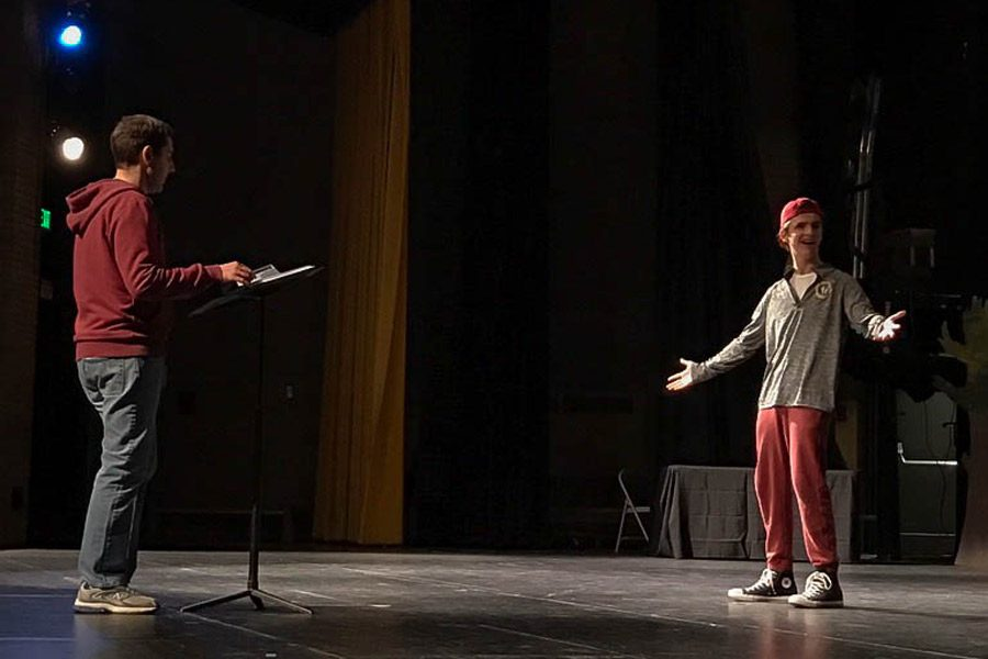 Sophomore Josh Robinson rehearses the opening number of Shrek the Musical under the direction of Larry Hensley. Shrek the Musical's showtimes are scheduled for March 17 and 18 at 7 p.m. and March 18 and 19 at 2 p.m.
