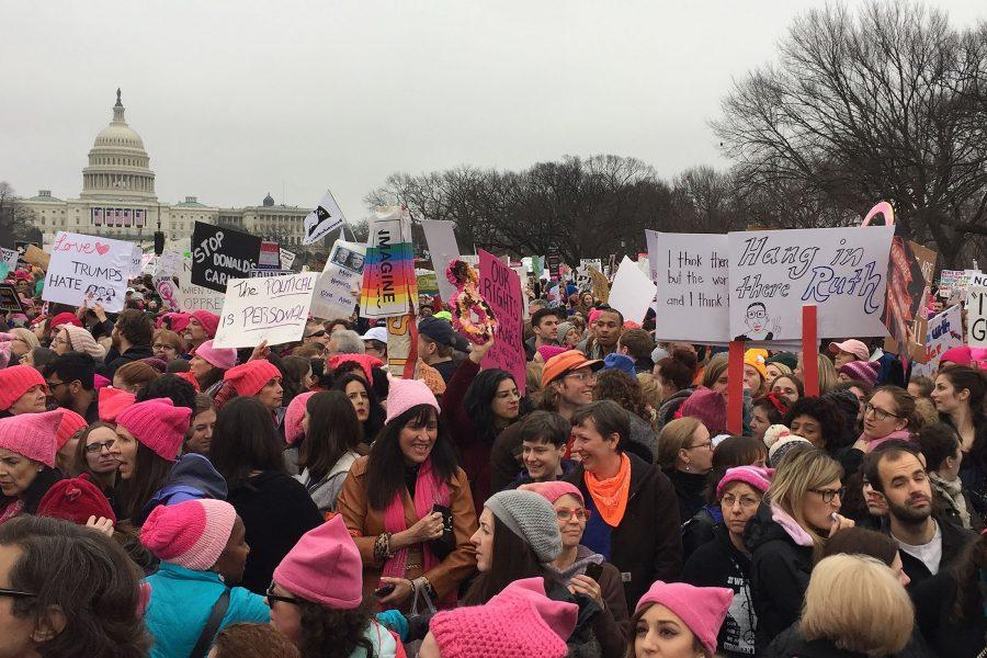Marchers+gather+outside+of+the+U.S.+Capitol+during+the+Women%E2%80%99s+March+in+Washington%2C+D.C.+on+Saturday%2C+Jan.+21.+An+estimated+470%2C000+people+attended+the+march+in+D.C.%2C+and+an+estimated+five+million+people+attended+the+673+sister+marches+across+the+world.
