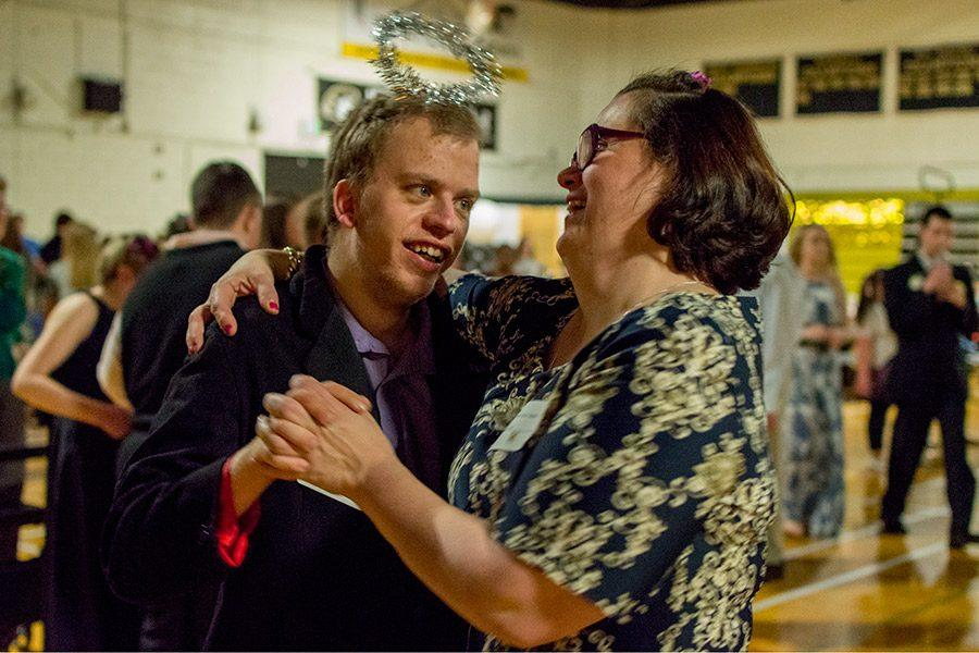 Two guests dance together at the Special Needs Prom on Sunday, March 26. The event, hosting about 200 people including special needs guests, aids, and volunteers, was organized by senior Caroline Cooney for her Senior Project.