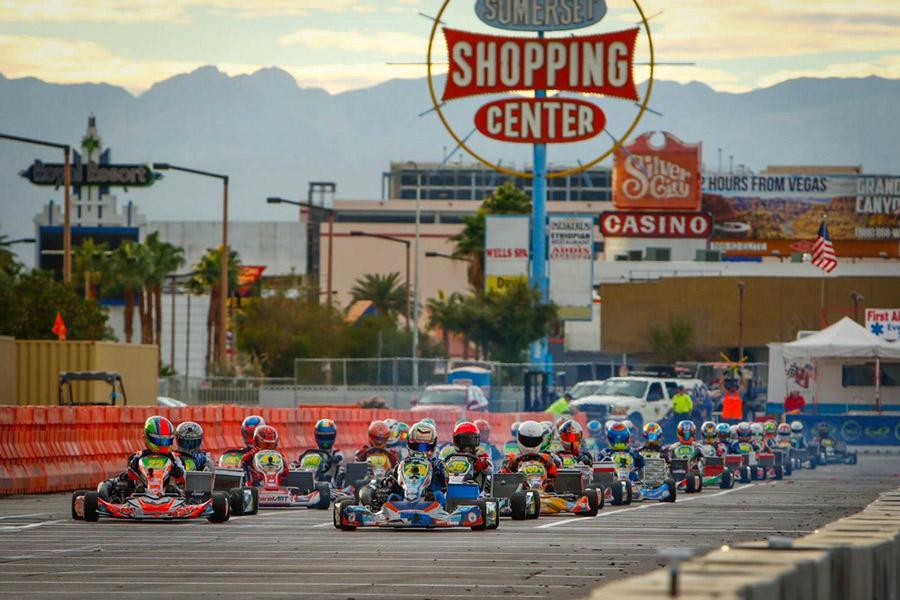 Junior Rory Van der Steur drives in a shifter kart race on the streets of Las Vegas. A shifter kart is a type of go-kart raced on closed circuits at approximately 100 miles per hour.