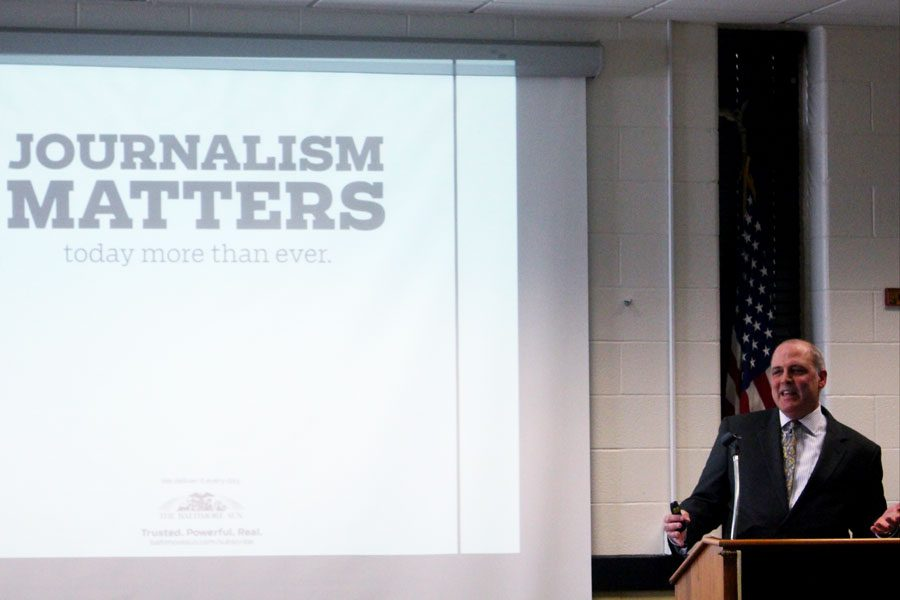 Publisher and Editor in Chief of The Baltimore Sun Media Group Trif Alatzas shares his journalistic experiences with the JC literary publications during the inductions for the Quill and Scroll Honors Society. Members of The Pinnacle, The Pacificus, and The Patriot were inducted on Tuesday, April 3.