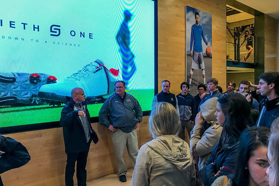 Seniors in the FLEX Program take a tour of Under Armour Headquarters in Baltimore, MD, lead by Territory Team Sales Manager Gary Powers. While in the city, the students also visited Emerging Technologies Centers (ETC) and City Garage, incubators providing affordable space and networking opportunities for small businesses in Maryland.