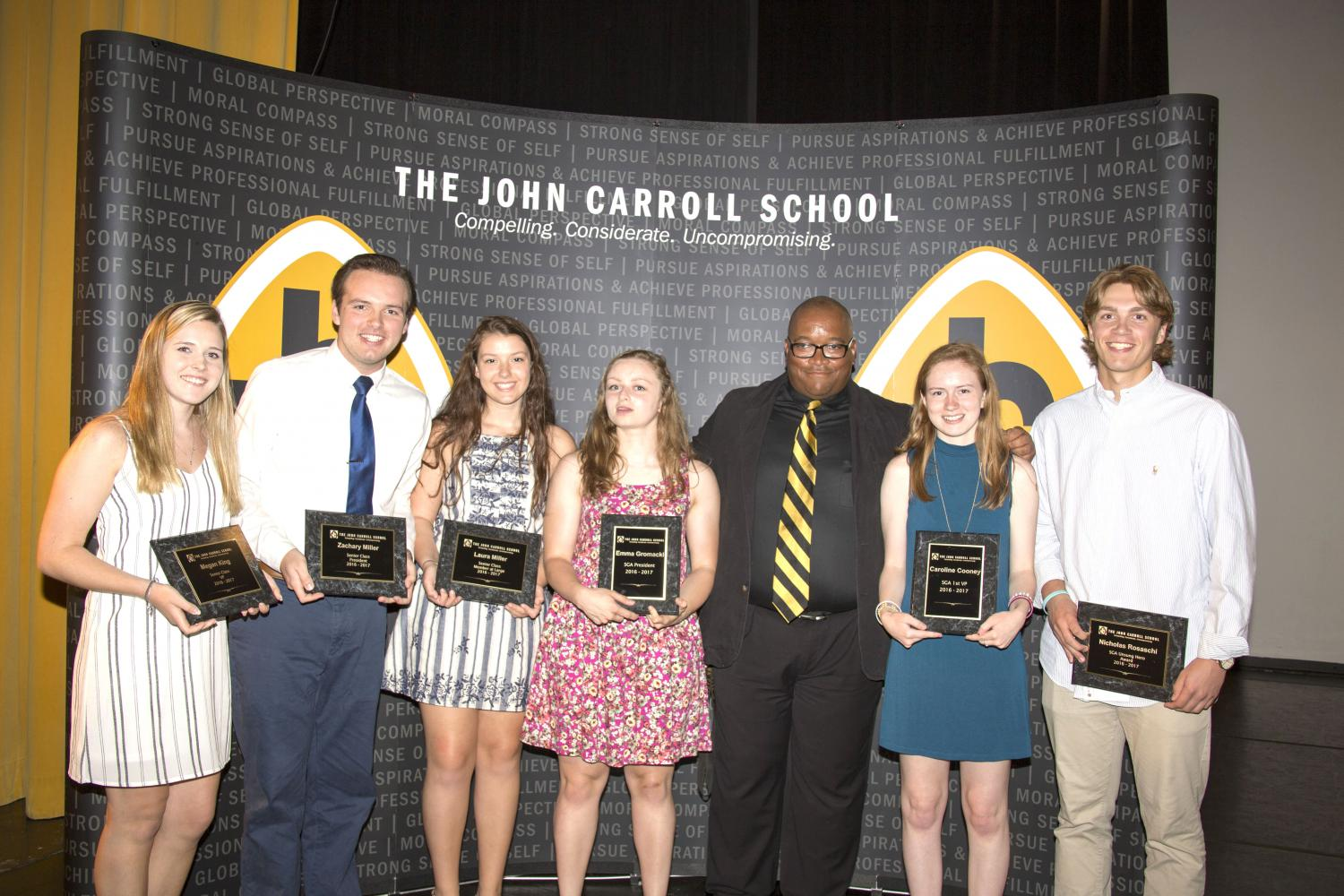 Senior representatives for the Student Government Association Megan King, Zachary Miller, Laura Miller, Emma Gromacki, Caroline Cooney, and Nick Rosaschi were awarded by SGA moderator Rodney Johnson during the Senior Award Ceremony. The Senior Award Ceremony took place on May 18 in the auditorium and honored seniors for their achievements.