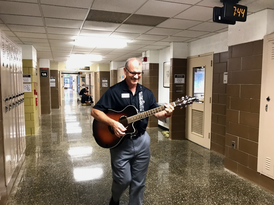 On Aug. 31, Social Studies and Fine Arts teacher Robert Schick commemorates the first Thursday of the school year by playing his renowned