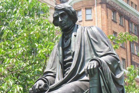 This is the statue of Roger B. Taney that once stood in Baltimore in Mount Vernon Place. The Statue was removed on Aug. 12 after the city council voted unanimously to take it down.