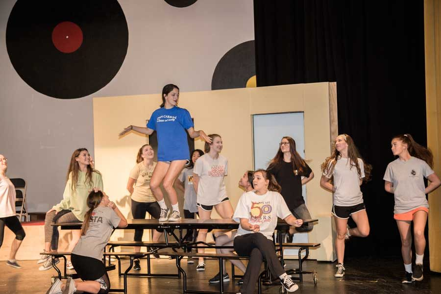 Junior+Francesca+Capizzi+dances+on+the+table+on+Thursday%2C+Oct.+19.+Capizzi+plays+the+lead+role+of+Sandy+Dumbrowski.+%E2%80%9CGrease%3A+School+Version%E2%80%9D+will+be+performed+Nov.+3%2C+4%2C+and+5.