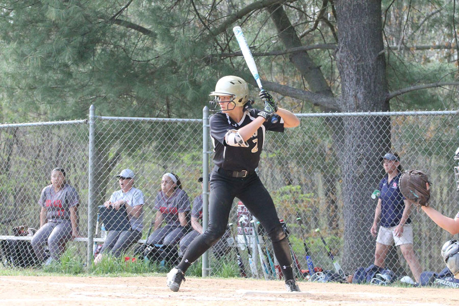 "Senior Meghan Sheehan gears up to swing at a pitch in a varsity softball game against Bel Air High School on April 20. A spring Commissioner's Cup would give spring sports, such as softball, a chance to take part in the ""Battle of Bel Air."""