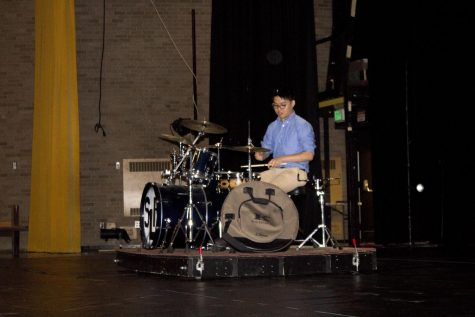 Senior Arthur Zhang performs a drum solo for the Senior Variety Show Committee on Tuesday, Nov. 7. The Senior Variety Show will be performed on Tuesday, Nov. 21 and Wednesday, Nov. 22.