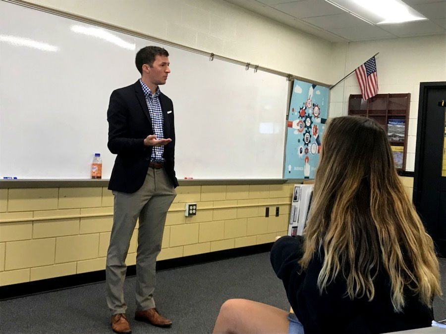 On Tuesday, Oct. 17, guest speaker Pat St. Clair spoke to entrepreneurial studies teacher Larry Dukes's classes. St. Clair, who works for an accounting firm in Baltimore, shared his experience in the business world.