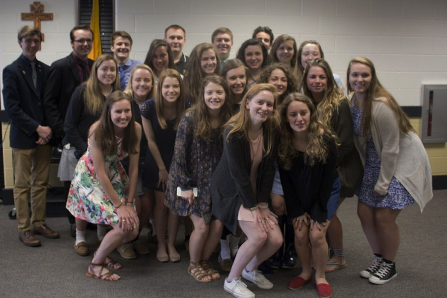 Members of the 2016-2017 Patriot Staff pose together for a picture during the Quill and Scroll Honors Society induction ceremony on Tuesday, April 4, 2017. The Baltimore Student Media contest, the Columbia Scholastic Press Association, and the National Scholastic Press Association recognized individual staff members as well as the entire staff for their work on last year's paper.