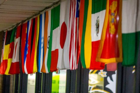 Flags hang outside the cafeteria, representing countries from around the world. The Model United Nations Club will represent these various countries on a mock panel in February.