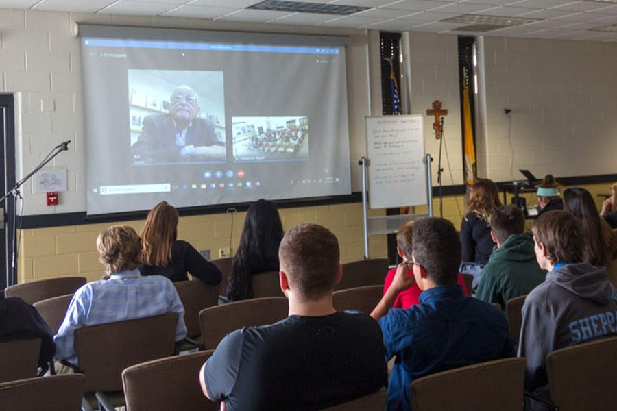 Students talk to Holocaust survivor Herbert Hane via Skype during the survivor testimony workshop at the Lessons of the Shoah. On Wednesday, Nov. 14, students from all over Maryland came to JC to participate in the Lessons of the Shoah, an event that educates students about the Holocaust, specifically Jewish persecution and resistance.